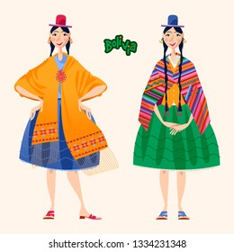Two Bolivian women in traditional clothes. Vector illustration.