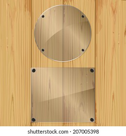 Two bolted glass plates on a wood background. Vector illustration