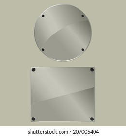 Two bolted glass plates on a gray background. Vector illustration