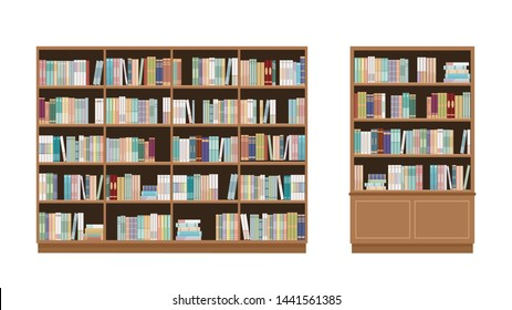 Two bookcases full of books. Isolated on white background. Education library and bookstore concept.  Vector illustration.