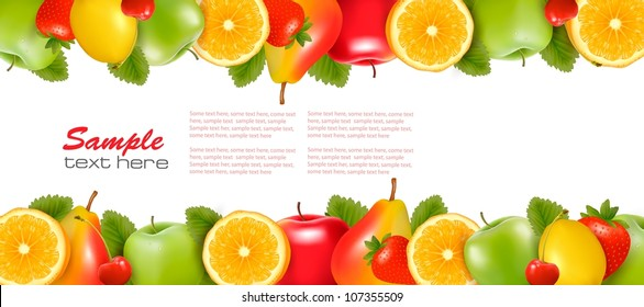 Two borders made of delicious ripe fruit. Vector.