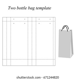 Two bottle bag template, vector, isolated on white background