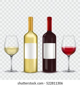Two bottles and  glasses of wine - red  white