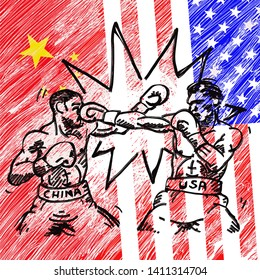 Two boxer over USA and China flag trading punches for the concept: Trade War. Vector illustration.
