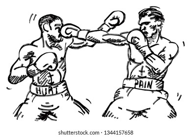 Two boxer punching each other. Hand drawn vector illustration.