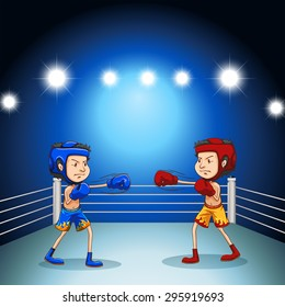 Two boxers boxing in the arena