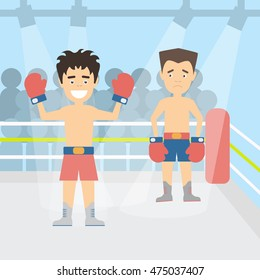 Two boxers at the boxing ring. Winner and looser. Boxers in red gloves. Concept of winning, leadership and hard work.