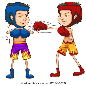 Two boxers in head guards and gloves