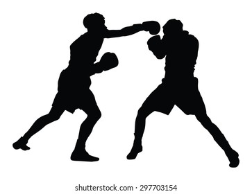 Two boxers in ring vector silhouette illustration isolated on white background. Strong fighters battle spectacle event. Martial arts sport. Courage of pride and skill. Old fight Olympic discipline.