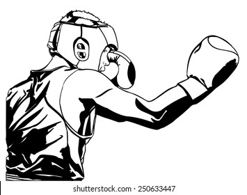 Two boxing fighter.Vector illustration.