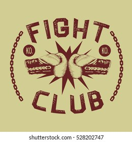 two boxing gloves is hitting together.Fight club.Vintage style.Prints design for t-shirts