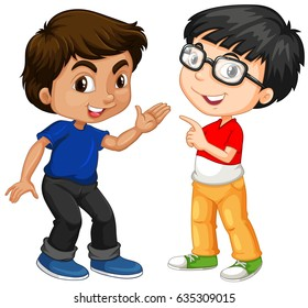 Two boy characters with happy face illustration