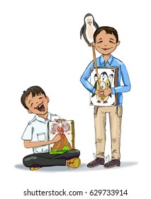 Two boys with books. Educational concept illustration