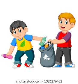 Two boys collecting Rubbish