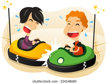 two boys driving Bumper car fun cartoon illustration