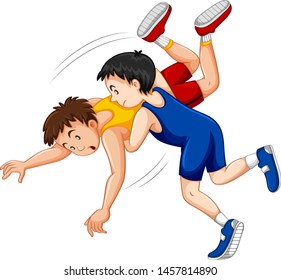 Two boys fighting judo wrestling on sport competition illustration