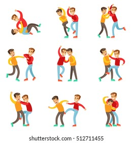 Two Boys Fist Fight Positions, Aggressive Bully In Long Sleeve Red Top Fighting Another Kid Who Is Weaker But Is Fighting Back