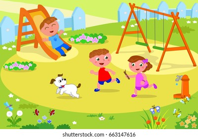 Two boys, a girl and a dog playing at the park, vector illustration