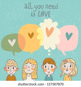 Two boys and two girls are thinking about love. Romantic concept card in cartoon style in vector