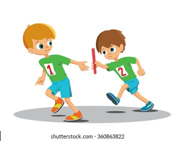 Two boys involved in the relay. Vector Illustration