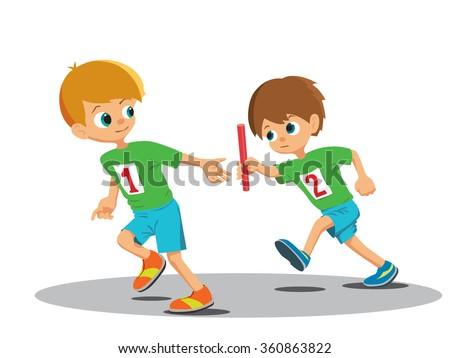 two boys involved relay vector illustration のベクター画像素材