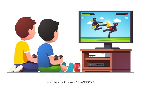 Two boys kids sitting at tv screen with gamepad controllers playing fighting console video game together. Children gamers cartoon characters. Gaming entertainment & leisure. Flat vector illustration