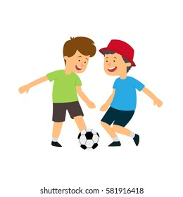 Two boys playing ball. vector illustration isolated on white background.