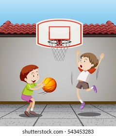 Two boys playing basketball at home illustration