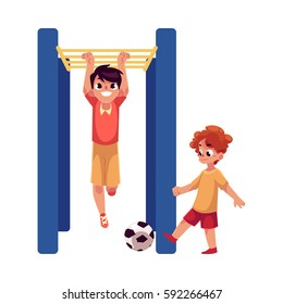Two boys playing football and hanging on monkey bar at playground, cartoon vector illustration isolated on white background.
