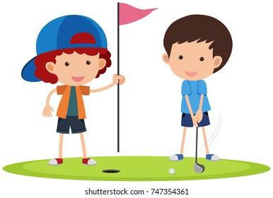 Ilustraciones Imagenes Y Vectores De Stock Sobre Kids Golf Illustration Shutterstock