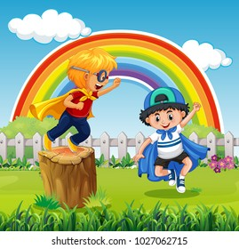 Two boys playing hero in the park illustration