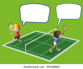 Two boys playing tennis illustration