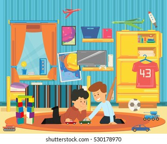 two boys playing with toys in the playroom. vector illustration.