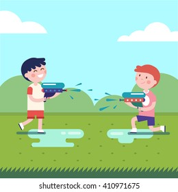 Two boys playing water guns wars. Wet kids shooting squirt guns. Modern flat vector illustration clipart.