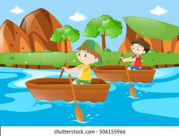 Two boys rowing boat along the river illustration