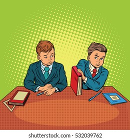 Two boys in school, bulling, discrimination. Pop art retro vector illustration. The feud between the children