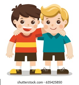 Two boys smiling, hugging. Happy kids best friends.