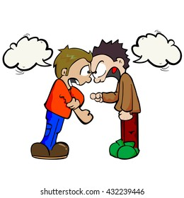 cartoon illustration two boys fighting stock vector 125143619 rh shutterstock com Arguing Cartoon People Arguing