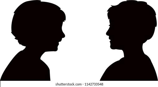two boys talking , body part, head silhouette vector
