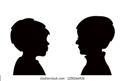 two boys talking , silhouette vector