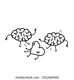 Two brains attacking heart on the ground. Vector concept illustration of sensitivity and feeling under attack of dominant mind | flat design linear infographic icon black on white background