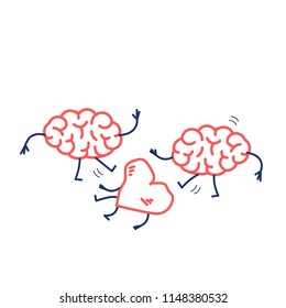 Two brains attacking heart on the ground. Vector concept illustration of sensitivity and feeling under attack of dominant mind | flat design linear infographic icon red and blue on white background