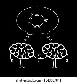 Two brains business cooperation. Vector concept illustration of teamwork handshake with bubble with piggy money bank | flat design linear infographic icon white on black background