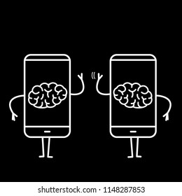 Two brains inside smartphones. Vector concept illustration of brain caged in modern technology | flat design linear infographic icon white on black background
