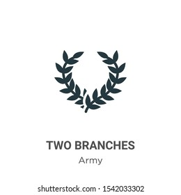 Two branches symbol of frame vector icon on white background. Flat vector two branches symbol of frame icon symbol sign from modern army collection for mobile concept and web apps design.