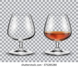 Two brandy glasses (empty and with alcohol) isolated on transparent background