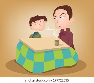 Two brother enjoying the kotatsu with hot green tea