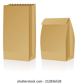 Two brown paper bags, one open the other closed.
