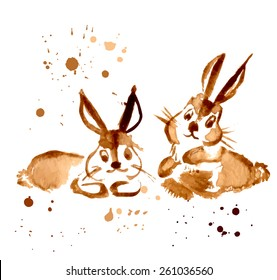 Two Brown Rabbit Painted Coffee. Vector Illustration