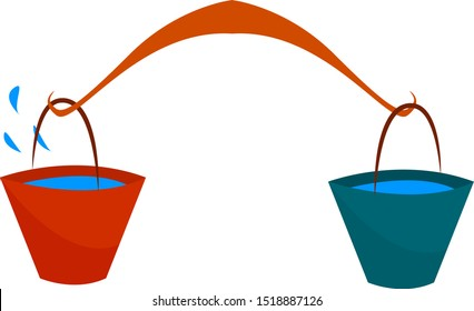 Two buckets of water, illustration, vector on white background.